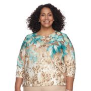 Plus Size Alfred Dunner Studio Leaf Leopard Top