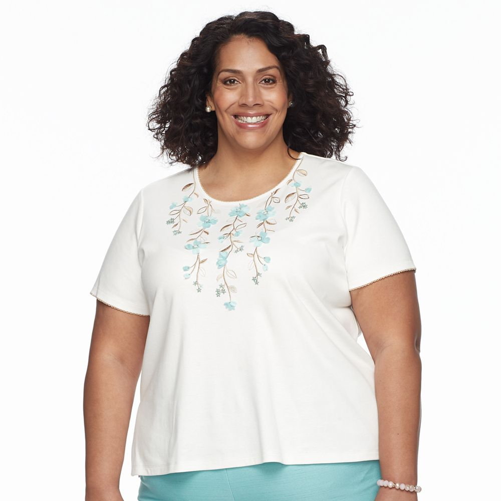 Plus Size Alfred Dunner Studio Embroidered Short-Sleeve Sweater