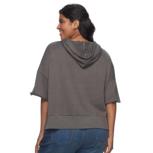 Juniors' Plus Size SO® Hooded Crop Sweatshirt
