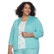 Plus Size Alfred Dunner Studio Ruffle Mock-Layer Top