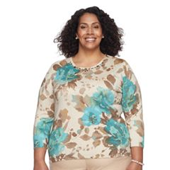 Plus Size Alfred Dunner Studio Embellished Floral Sweater