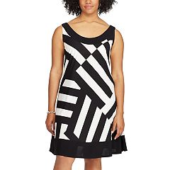 Plus Size Chaps Asymmetrical Stripe A-Line Dress