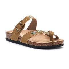 Mudd® Women's Embroidered Floral Toe Loop Sandals