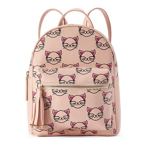 Glam Kitty Print Mini Backpack