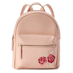 OMG Accessories Rose Embroidered Mini Backpack