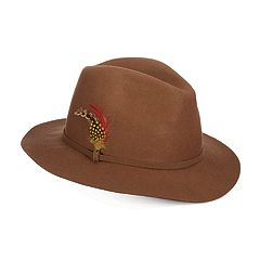 Women's Scala Feather-Trim Wool Felt Safari Hat