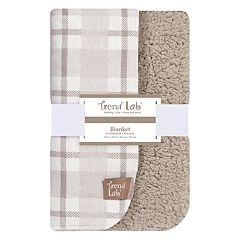 Trend Lab Plaid Flannel & Faux-Shearling Blanket