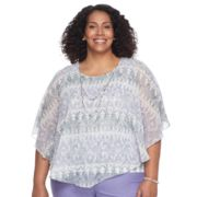 Plus Size Alfred Dunner Studio Scroll Popover Top