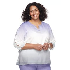 Plus Size Alfred Dunner Studio Slit-Sleeve Ombre Top