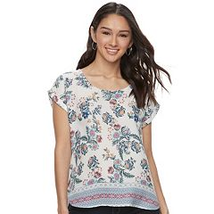 Juniors' Pink Republic Printed Dolman Top