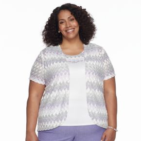Plus Size  Alfred Dunner Studio Basketweave Cardigan & Camisole Set