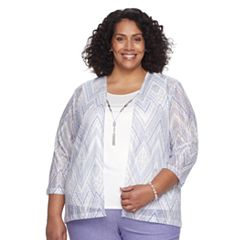 Plus Size Alfred Dunner Studio Zig-Zag 3-pc. Cardigan & Cami Set