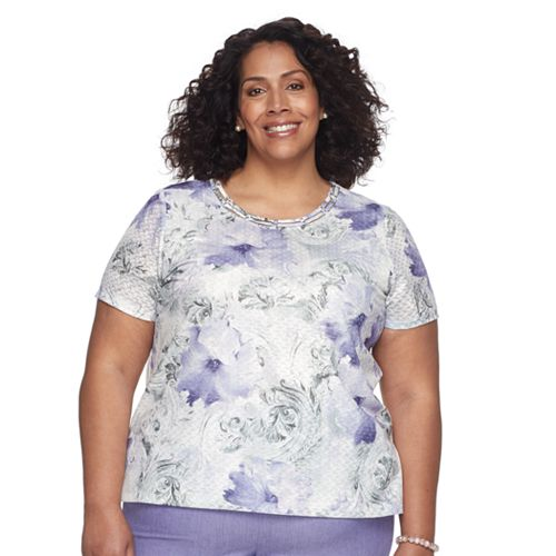 Plus Size Alfred Dunner Studio Floral Basketweave Top