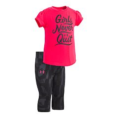 Baby Girl Under Armour 'Girls Never Quit' Graphic Tee & Capri Leggings Set