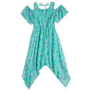 Girls 7-16 My Michelle Cold Shoulder Handkerchief Hem Maxi Dress