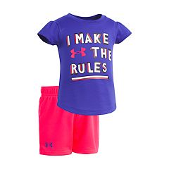 Baby Girl Under Armour 'I Make The Rules' Graphic Tee & Shorts Set