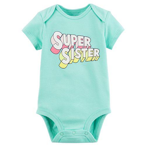 "Baby Girl Carter's ""Super Sister"" Graphic Bodysuit"