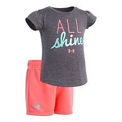 Baby Girl Under Armour 'All Shine' Graphic Tee & Shorts Set