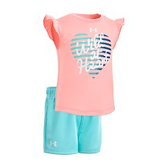 Baby Girl Under Armour 'Wild At Heart' Graphic Tee & Shorts Set
