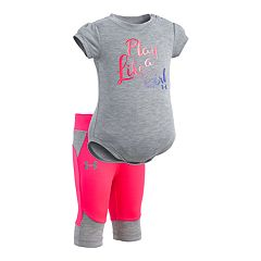 Baby Girl Under Armour 'Play Like A Girl' Bodysuit & Capri Leggings Set