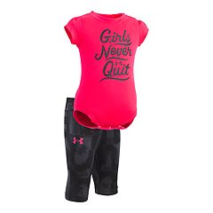 Baby Girl Under Armour 'Girls Never Quit' Bodysuit & Capri Leggings Set