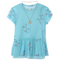Girls 7-16 Speechless Tee & Embroidered Babydoll Tank Top Set with Necklace