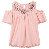 Girls 7-16 Speechless Cold Shoulder Embroidered Babydoll Top