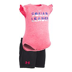 Baby Girl Under Armour 'Squad Leader' Bodysuit & Shorts Set