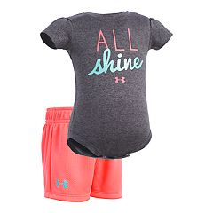 Baby Girl Under Armour 'All Shine' Bodysuit & Shorts Set