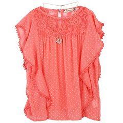 Girls 7-16 Speechless Babydoll Ruffled Top with Necklace