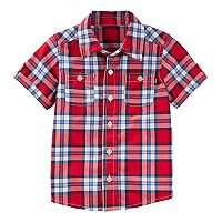 Toddler Boy OshKosh B'gosh® Plaid Short Sleeve Shirt