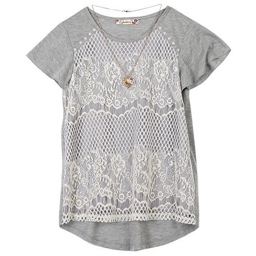 Girls 7-16 Speechless Crochet Lace Overlay Top with Necklace