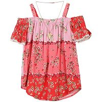 Girls 7-16 Speechless Floral Off-The-Shoulder Top with Necklace