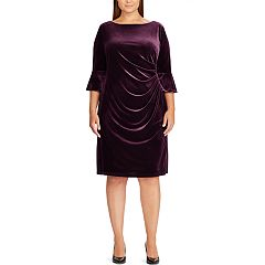 Plus Size Chaps Ruched Velvet Sheath Dress