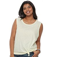 Juniors' Plus Size SO® Knot-Front Tank