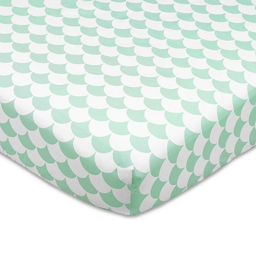 Lolli Living Kayden Green Scallops Fitted Crib Sheet