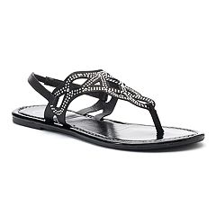 Candie's® Women's Rhinestone Perforated Slingback Thong Sandals