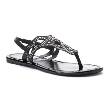 Candie's® Women's Rhinestone ... Perforated Slingback Thong Sandals