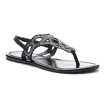 Candie's® Women's Rhinestone ... Perforated Slingback Thong Sandals X2OuJz