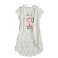 Girls 7-16 Self Esteem Lace Duster & Graphic Tee Set with Necklace