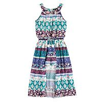 Girls 7-16 My Michelle U-Neck Walk-Through Maxi Dress