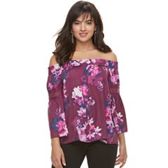 Women's Jennifer Lopez Off-the-Shoulder Satin Top