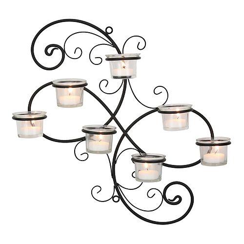 Stonebriar Collection 7-Light Tealight Candle Holder Wall Decor 8-piece Set