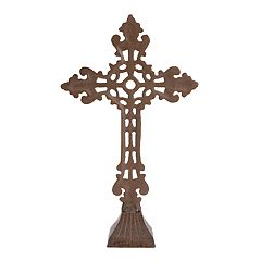 Stonebriar Collection Rustic Iron Cross Table Decor