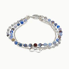 love this life Blue Agate & White Quartz 3-Strand Infinity Charm Bracelet