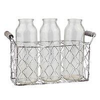 Stonebriar Collection Decorative Milk Bottle & Farmhouse Basket 4 pc Set