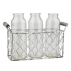 Stonebriar Collection Decorative Milk Bottle & Farmhouse Basket 4 pc Set