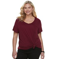 Juniors' Plus Size SO® Twist-Front Oversized Pocket Tee
