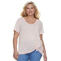 Juniors' Plus Size SO® Relaxed Pocket Tee