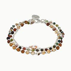 love this life Silver Plated 3-Strand Jasper Bracelet